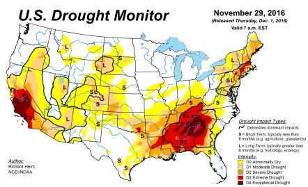 US Drought Map Nov 2016